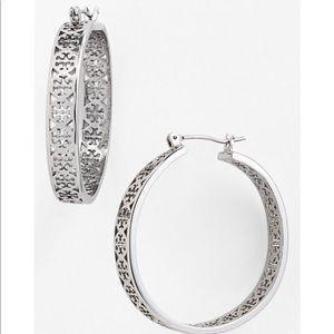 Tory Burch NWOT Large Silver Kinsley Hoop Earrings